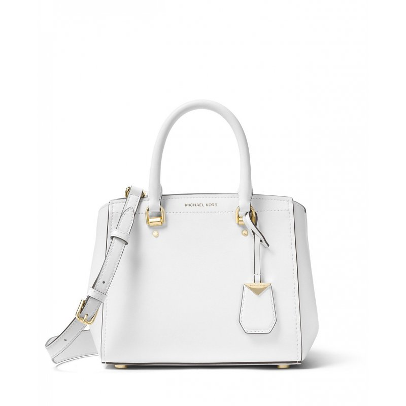 607e349d02c1 Michael Kors Benning Medium Leather Satchel in Optic White