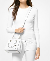 Michael Kors Benning Medium Leather Satchel in Optic White