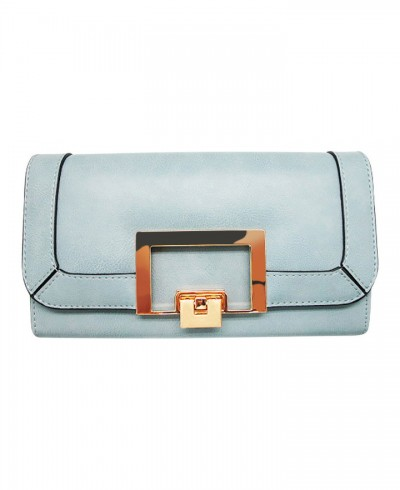 Tony Bianco Geo Lock Wallet in Pale Blue
