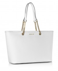 Michael Kors Jet Set Travel Chain Tote in Optic White