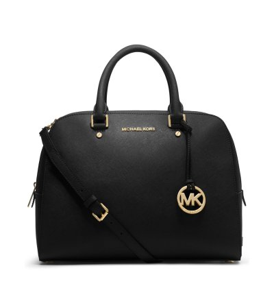 Michael Kors Medium Satchel with Chain and Leather Strap Black