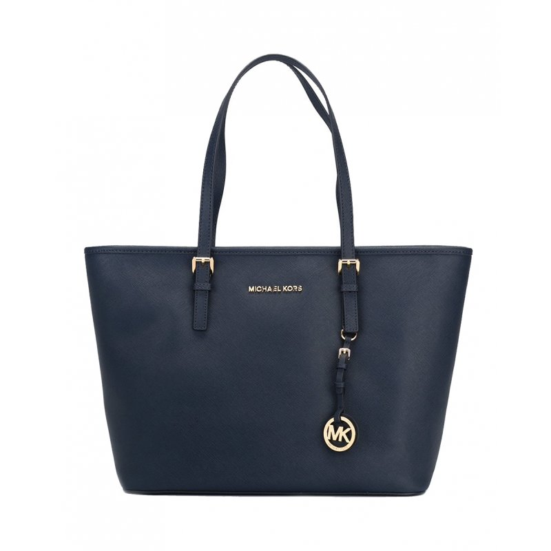 13671038d98e Michael Kors Jet Set Travel Medium Saffiano Leather Top-Zip Tote in Navy