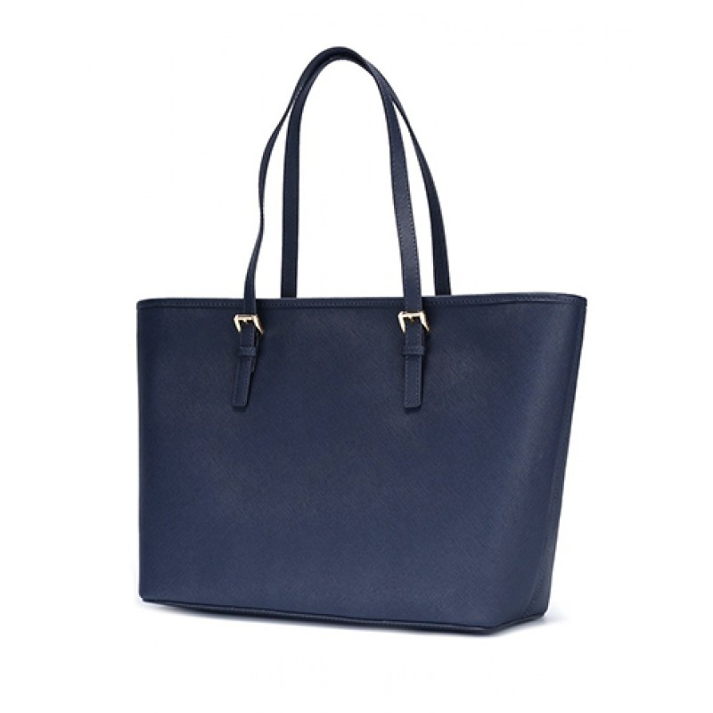 081be34ea972 Michael Kors Jet Set Travel Medium Saffiano Leather Top-Zip Tote in Navy