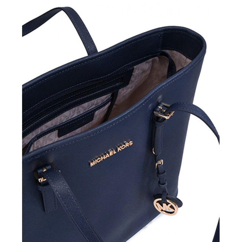4db425880a447a Michael Kors Jet Set Travel Medium Saffiano Leather Top-Zip Tote in Navy