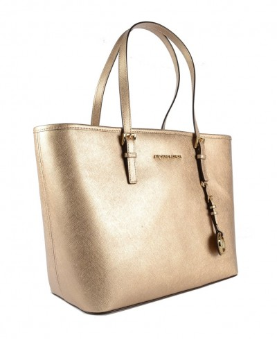 Michael Kors Jet Set Travel Medium Saffiano Leather Top-Zip Tote in Pale Gold