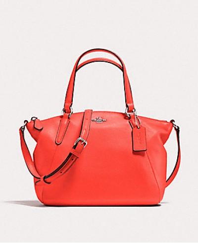 Coach Kelsey Pebble Leather Satchel Crossbody Bag in Bright Orange
