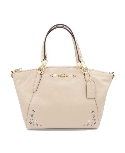 Coach Kelsey Leather Satchel with Floral Stitching in Soft Nude Pink