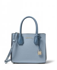 Michael Kors Mercer Pebbled Leather Accordion Crossbody in Pale Blue