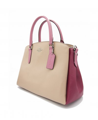 Coach Sage Crossgrain Leather Carryall in Colorblock Pink Multi