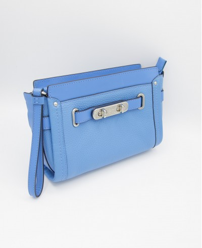 Coach Swagger Wristlet Pebble Leather Crossbody in Azure Blue